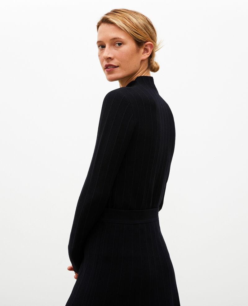 Merino wool funnel neck jumper Black nightsky jacquard Marquisa