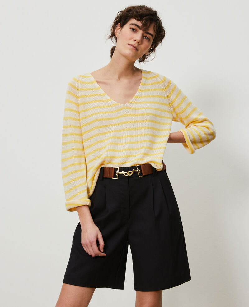 Striped linen jumper Stp cream lemn Logron