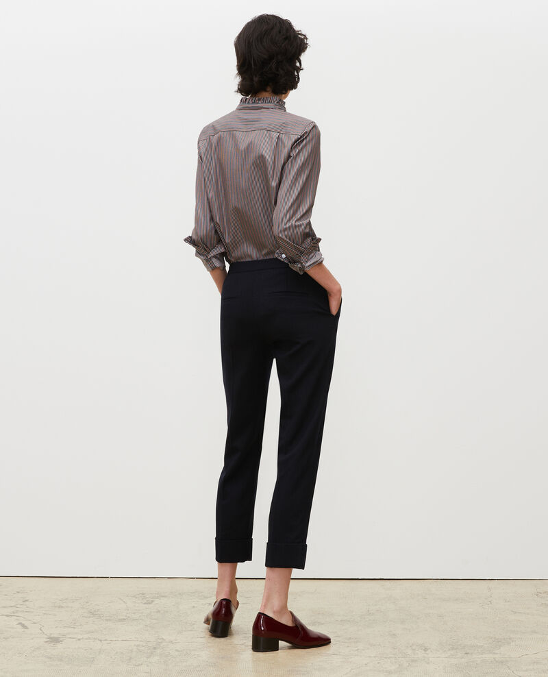 Tapered wool 7/8 trousers with turn-ups MARGUERITE Night sky Mokoy