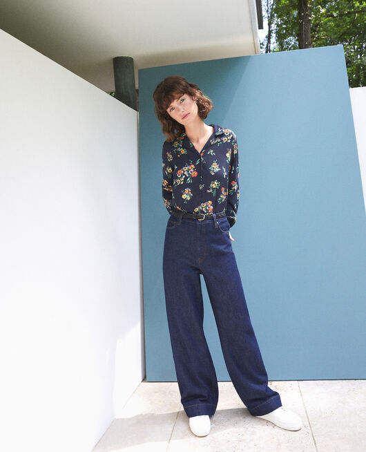 Shirt with pyjama-style collar FLEURS NAVY