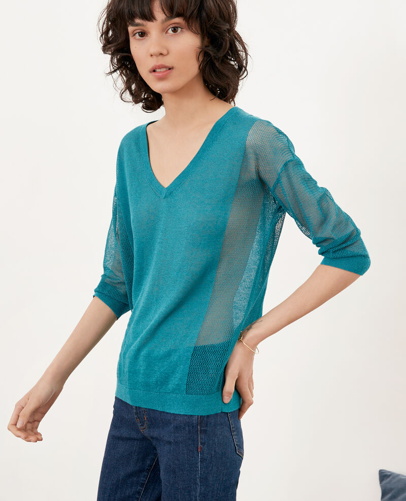 Jumper with open knit details Pacific green Fugees