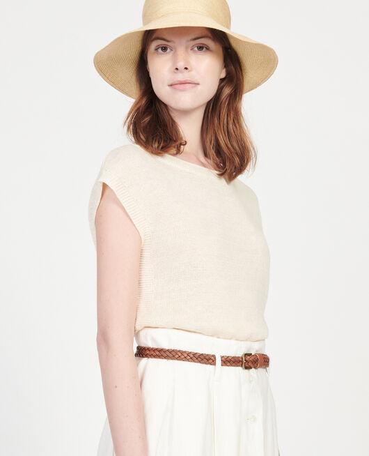 Linen t-shirt BUTTERCREAM