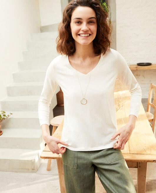 Bimaterial T-shirt OFF WHITE