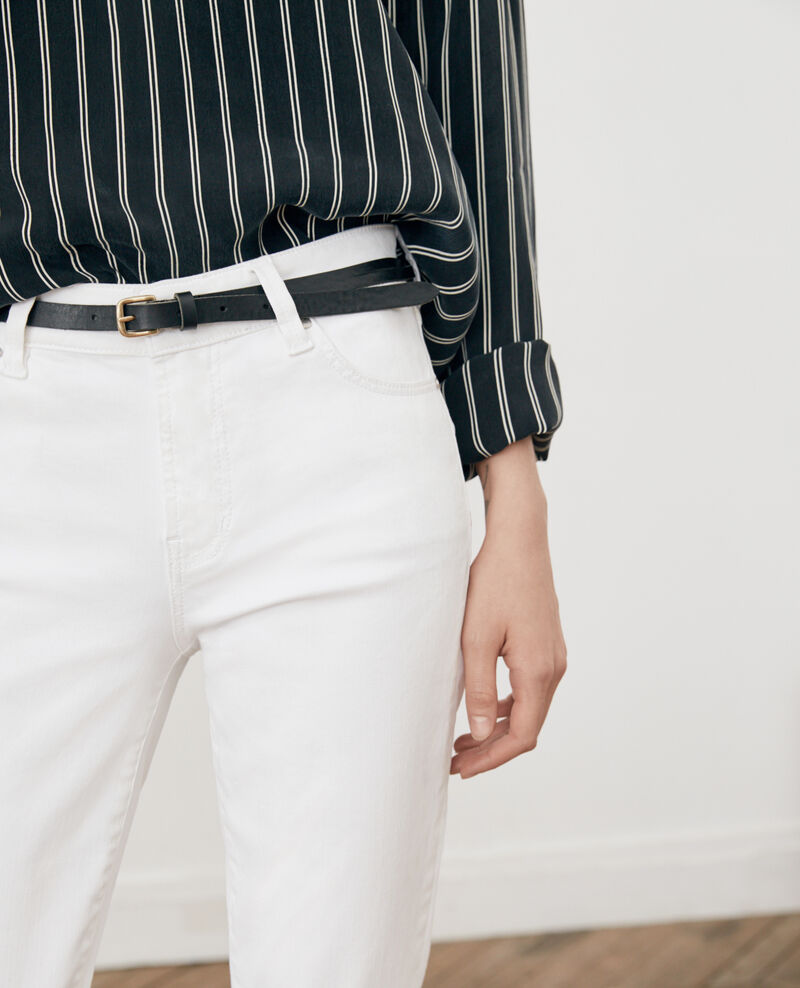 Braided leather belt Noir Fiole