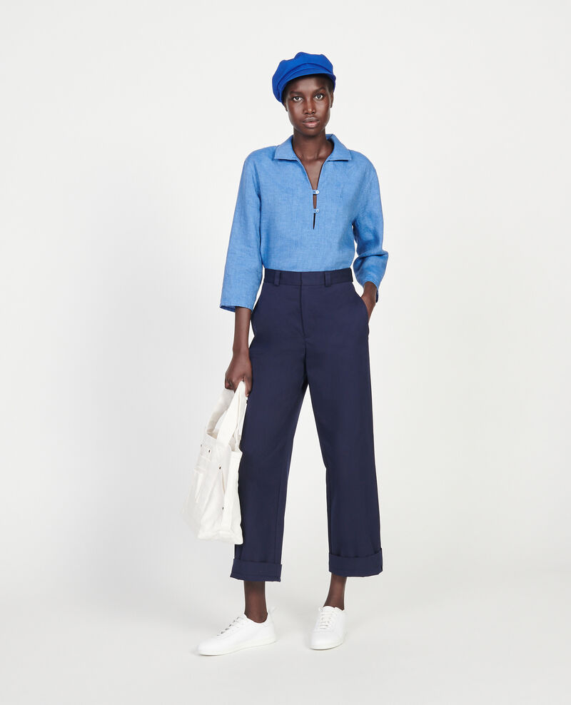 Cotton boyfriend trousers Maritime blue Lodrey