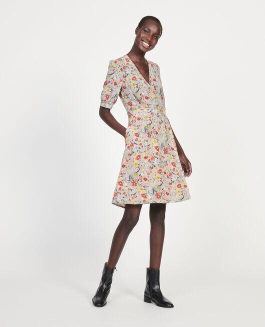 Floral silk wrap mini dress PRINT EDEN CREAM