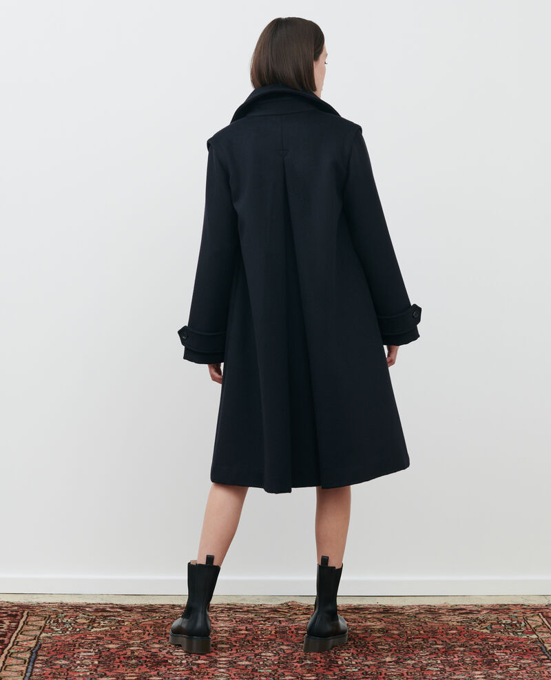 Loose wool and cashmere coat Black beauty Madriat