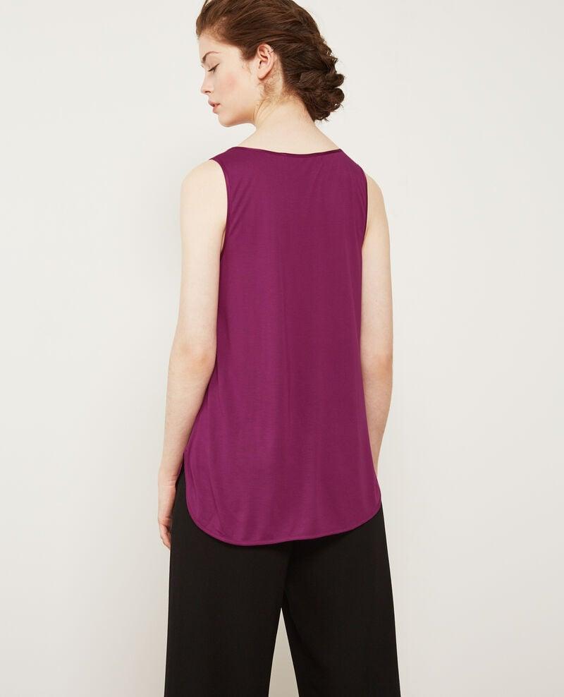 Silk panelled t-shirt Dark peony Dicton