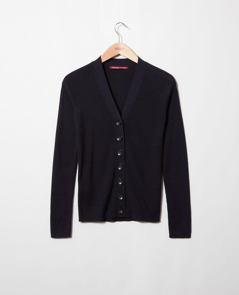 Classic cardigan 100% Merino Wool Noir Jesse