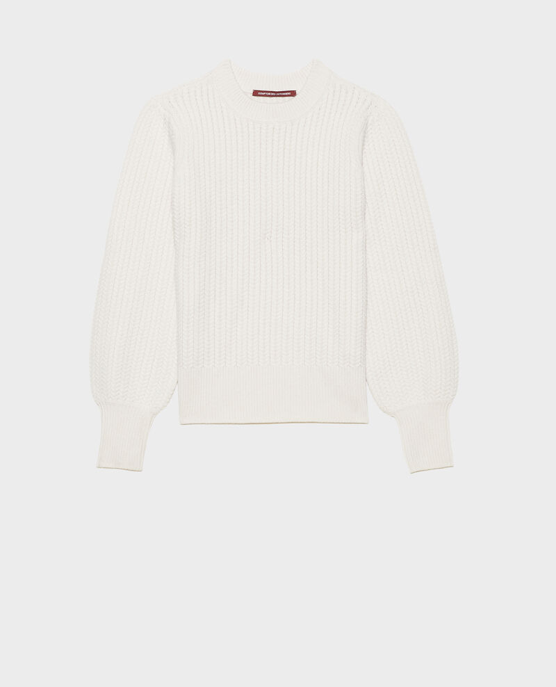 Cable knit round neck wool jumper Jet stream Marquise