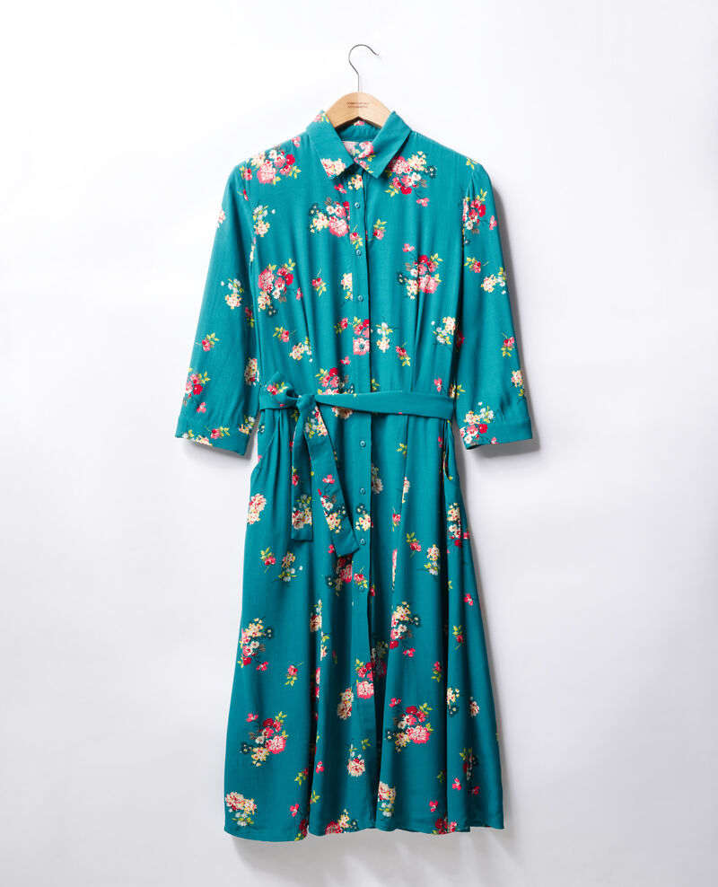 Mid-length dress Fleurs pacific green Fidji