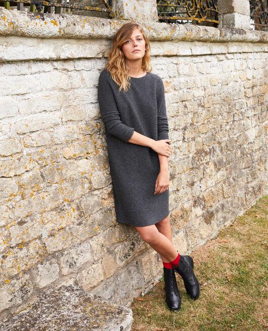 3D knit jumper dress 100% cashmere DARK GREY