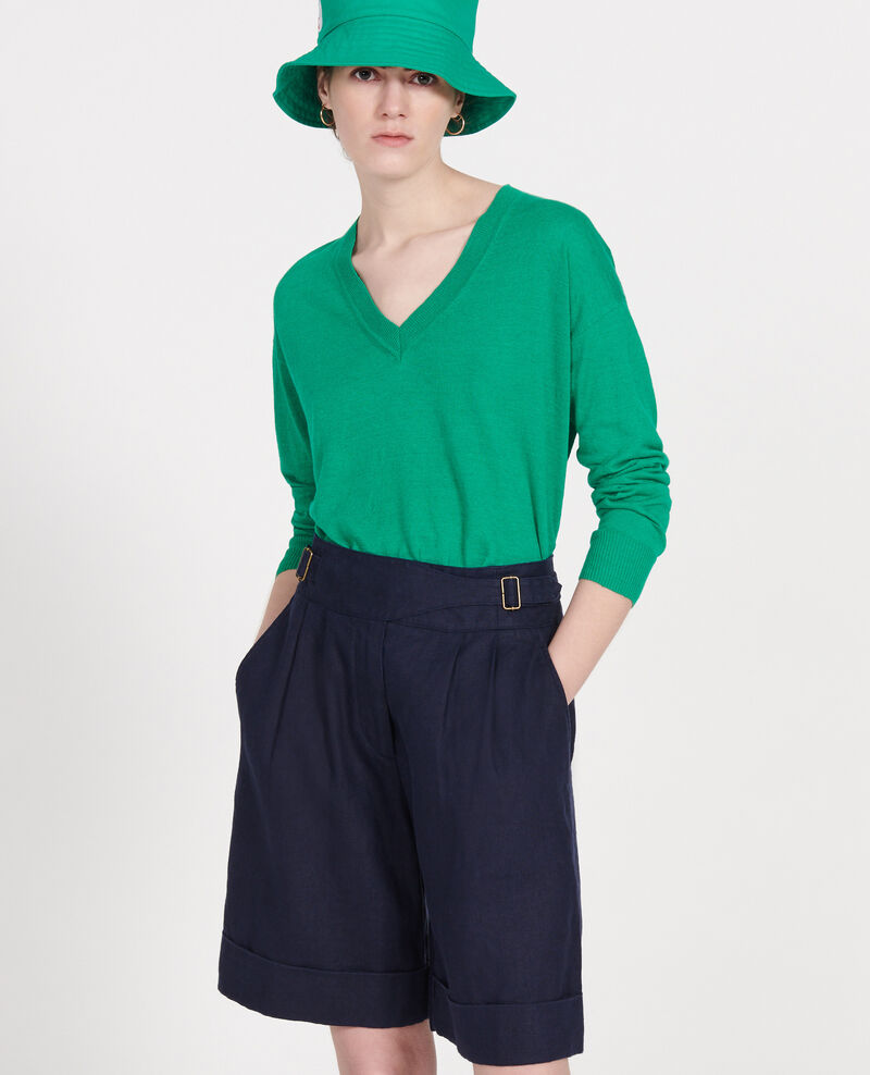 Linen and cotton V-neck jumper Golf green Leonotis