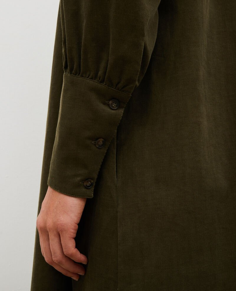 Corduroy yoke smock dress  Military green Marcheville