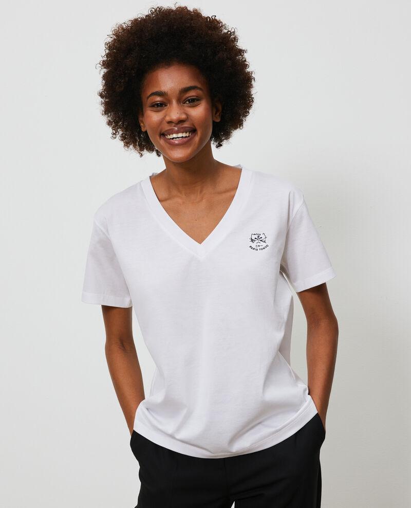 Embroidered cotton t-shirt Optical white Nagaoka