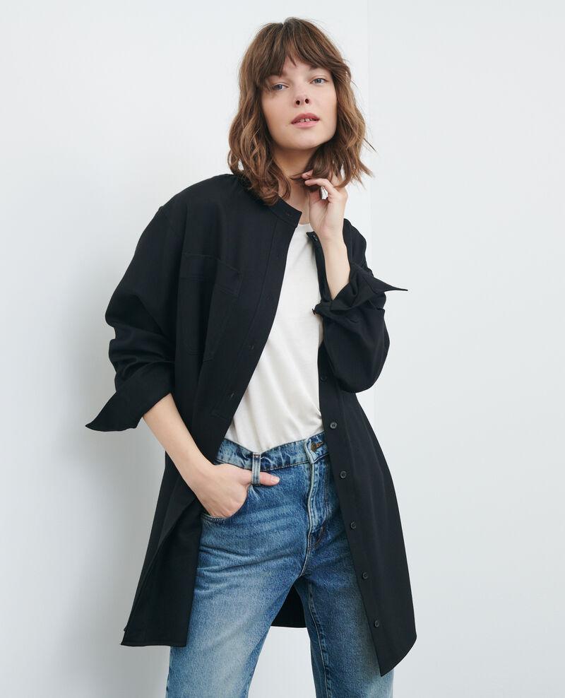Oversized mini shirt dress Black beauty Paillarde