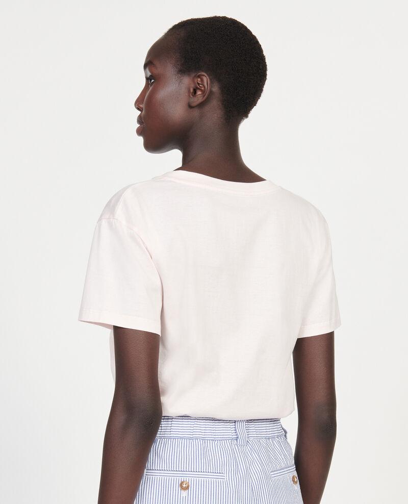 V-neck cotton t-shirt Primrose pink Laberne