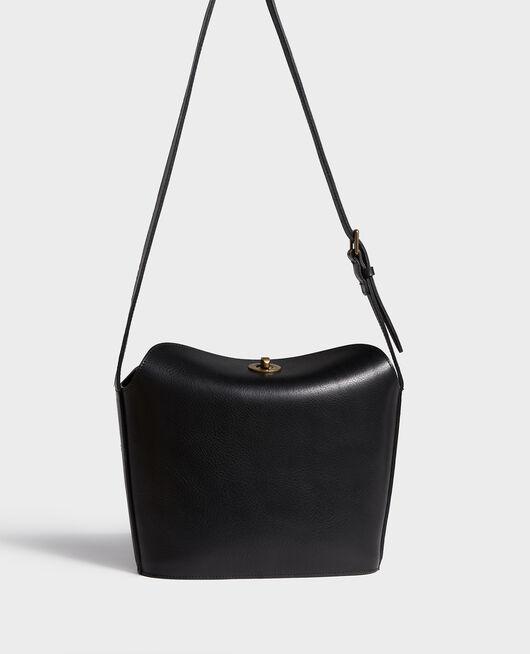 Leather handbag with short shoulder strap BLACK BEAUTY