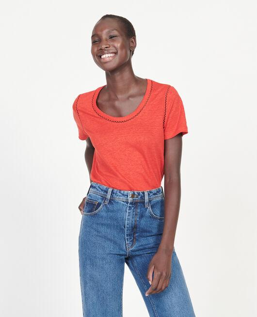 Linen T-shirt FIERY RED
