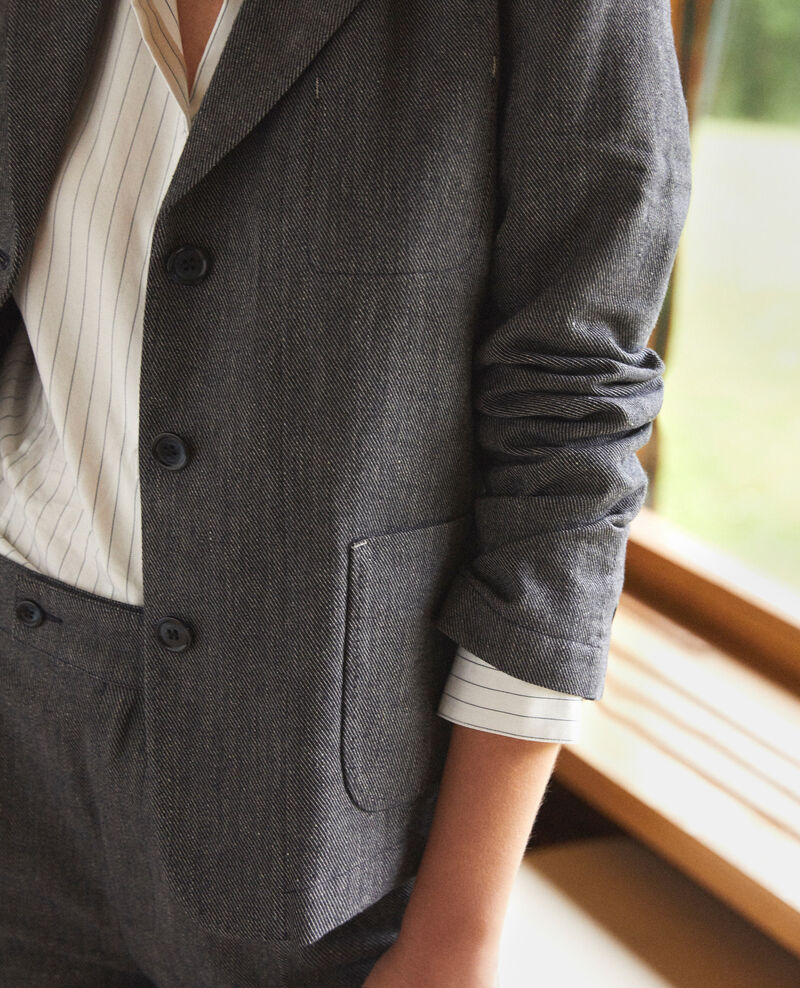 Linen and wool blazer Blue Guibert