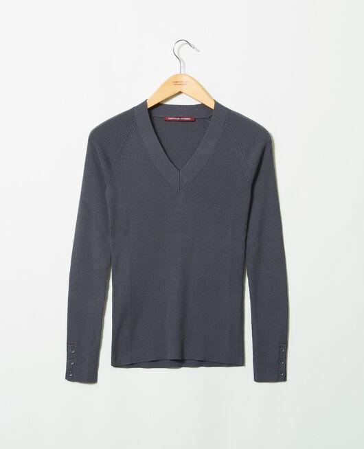 V-neck jumper 100% Merino Wool ODYSSEY GRAY
