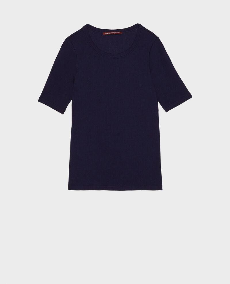 Mercerised cotton T-shirt Maritime blue Lasso
