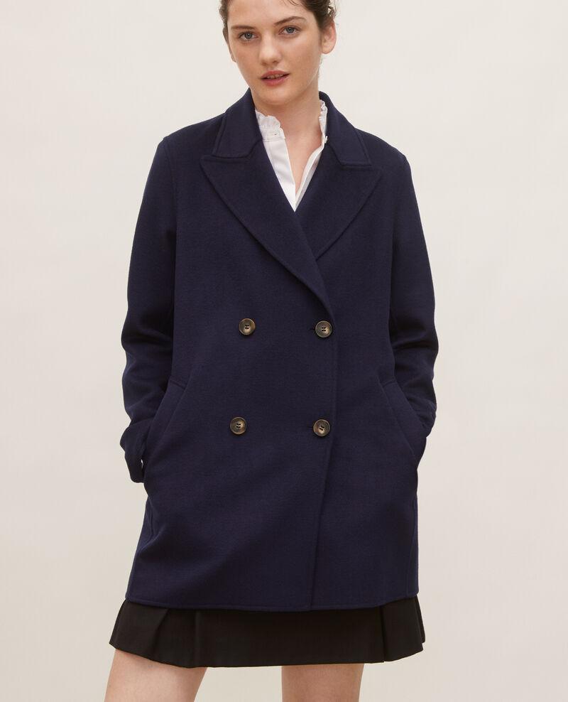 Double-sided wool pea coat Maritime blue Lintot