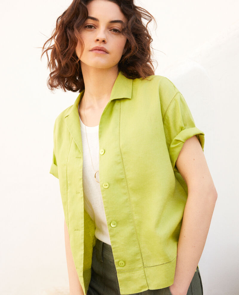 Open collar linen shirt Lime green Ilage