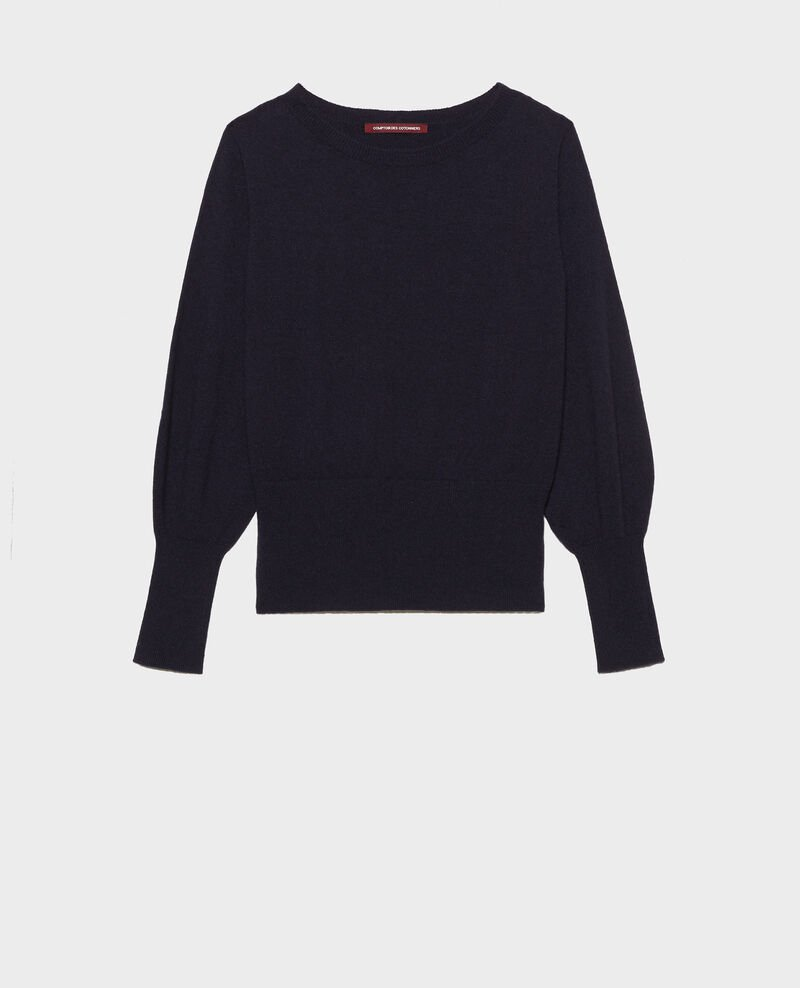 Fine cashmere boatneck jumper Night sky Manolita