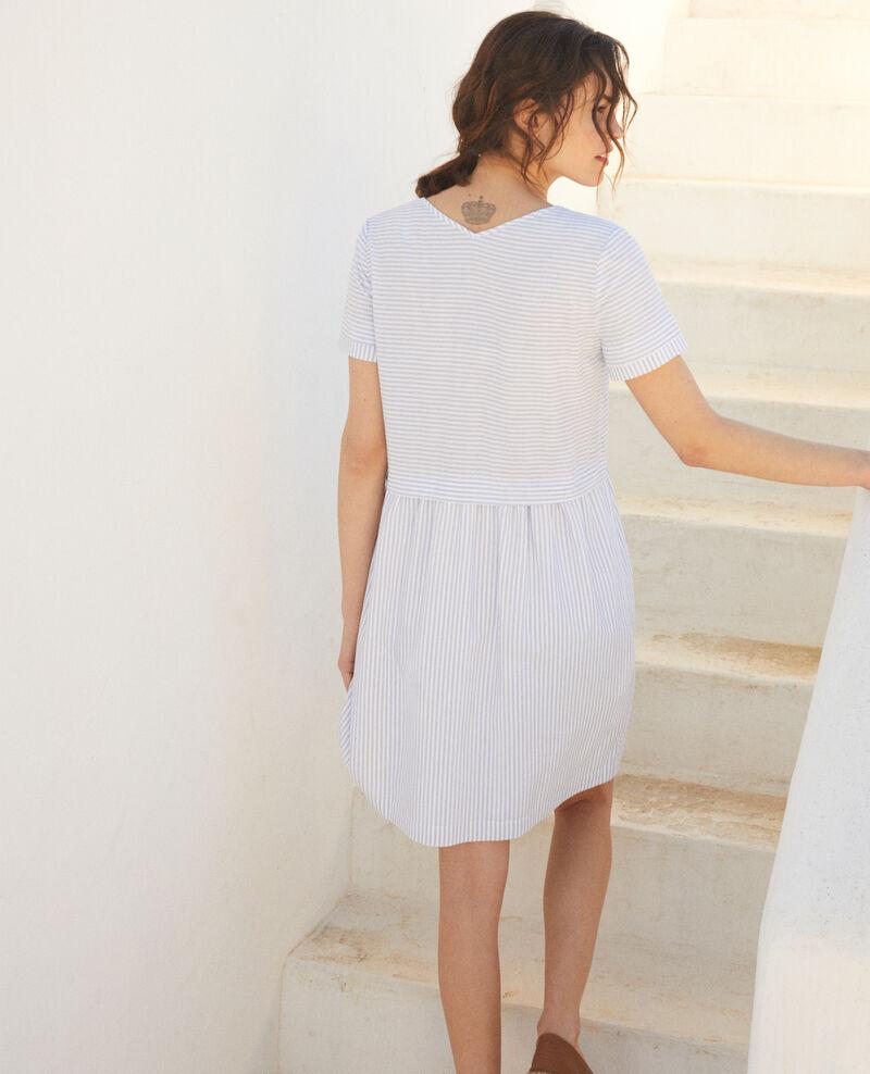 Striped V-neck dress Blanc/indigo Iagibus