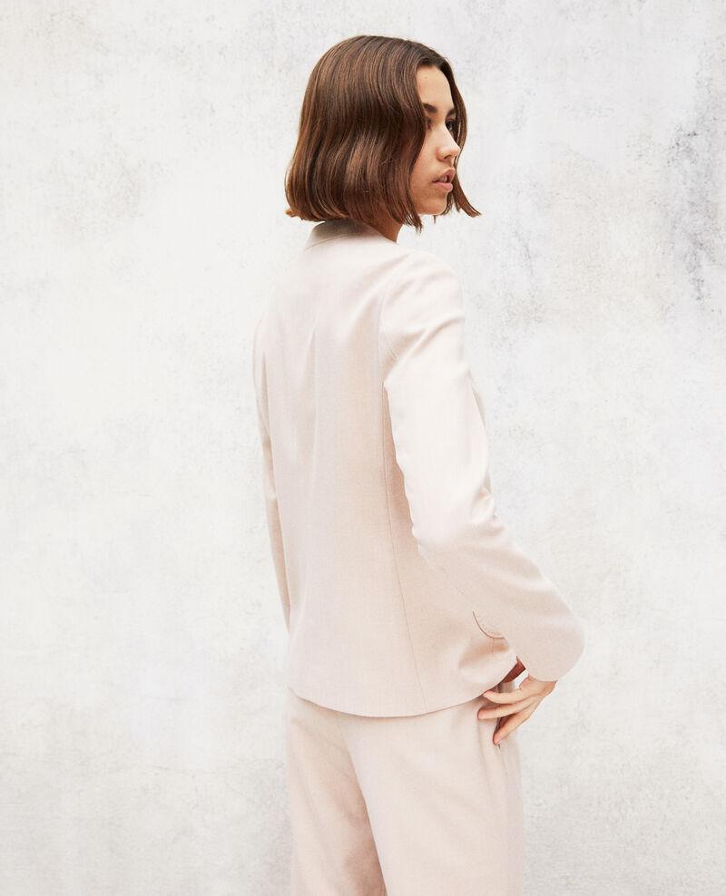 Round neck jacket Pink beige Illana