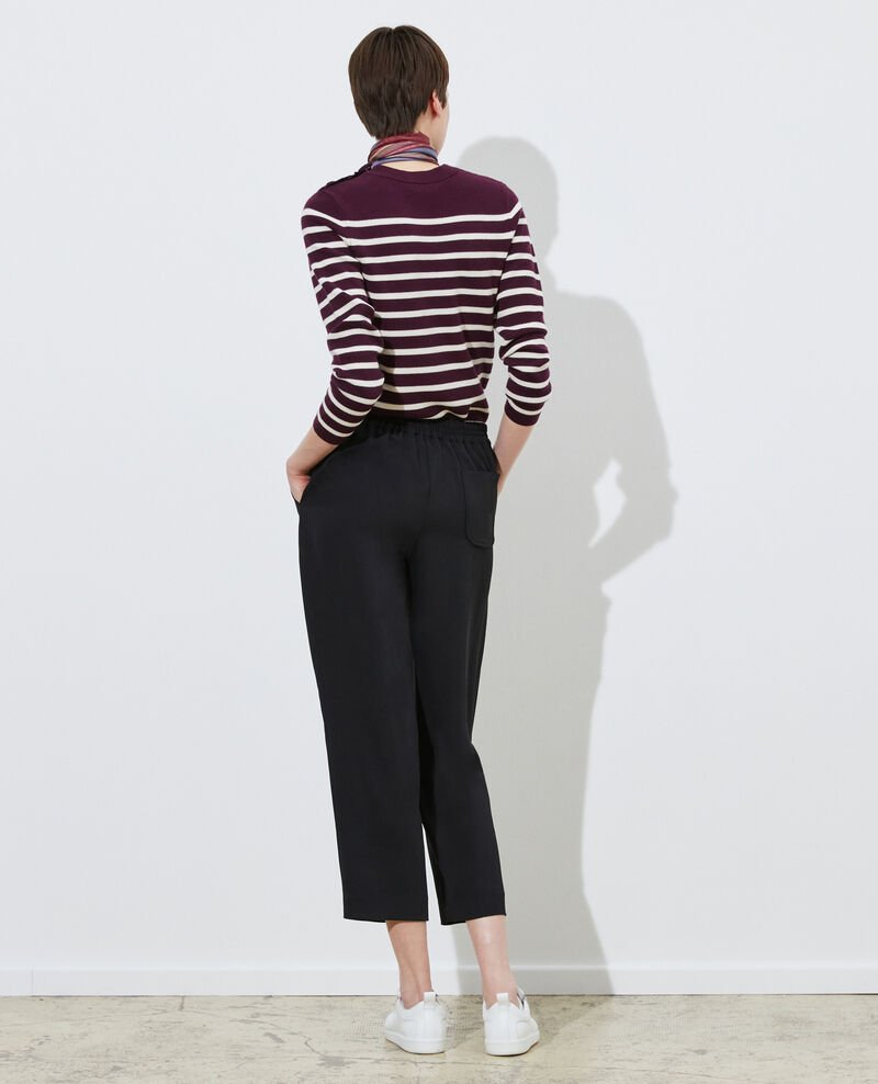 Loose elasticated polyester trousers Black beauty Luant
