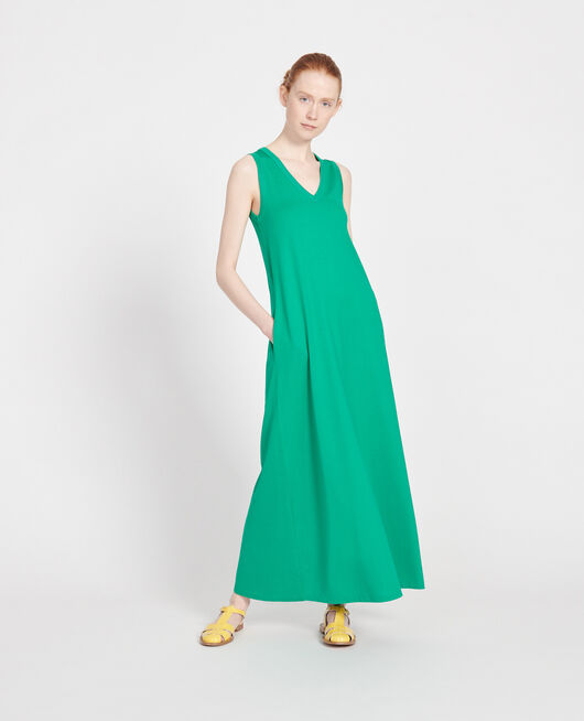 Mercerised cotton maxi dress GOLF GREEN