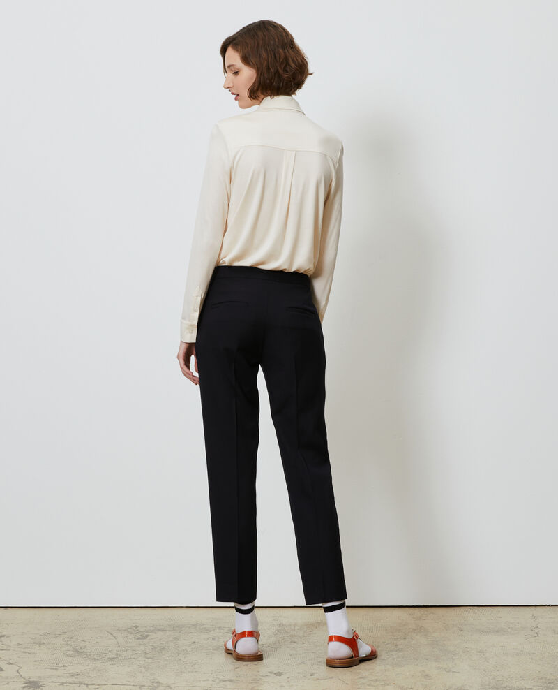 Wool 7/8 cigarette pants MARGUERITE Black beauty Moko