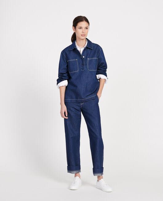 Cotton and linen tunic INDIGO