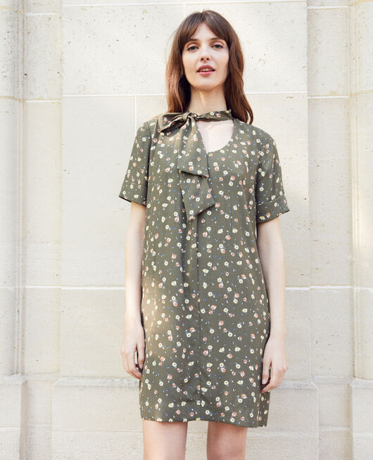 Dress with removable bow COQUELICOT CHENG OLIVE