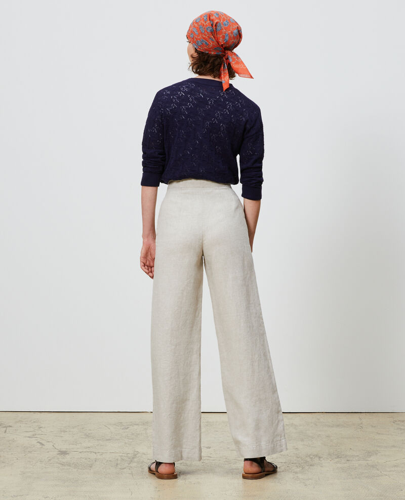 Linen high-waisted trousers Natural linen Neronde