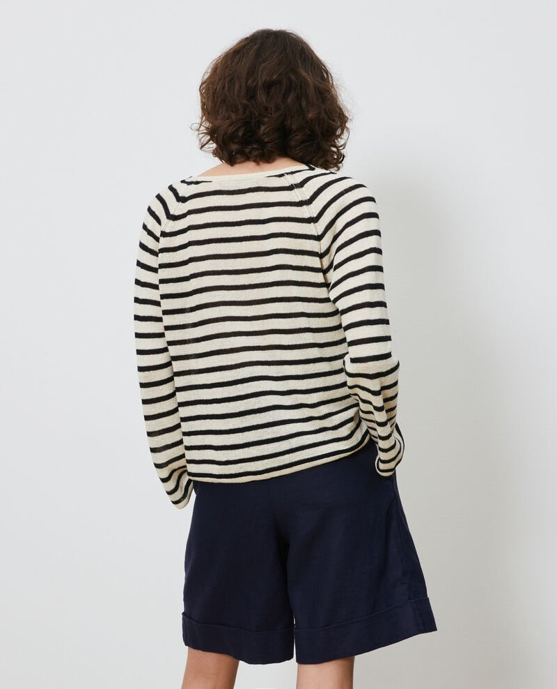 Striped linen jumper Stripes buttercream black Logron