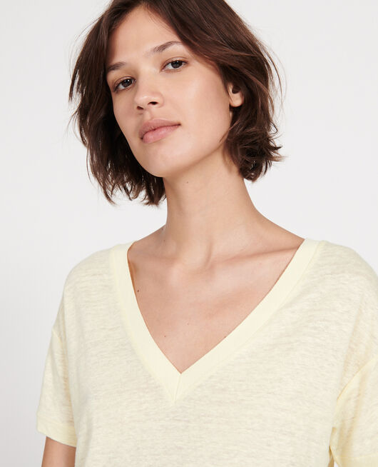 Linen jersey t-shirt TENDER YELLOW