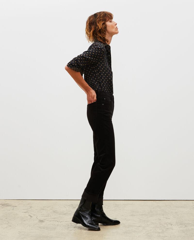 SLIM STRAIGHT - smooth velvet 5 pocket jeans Black beauty Muillemin