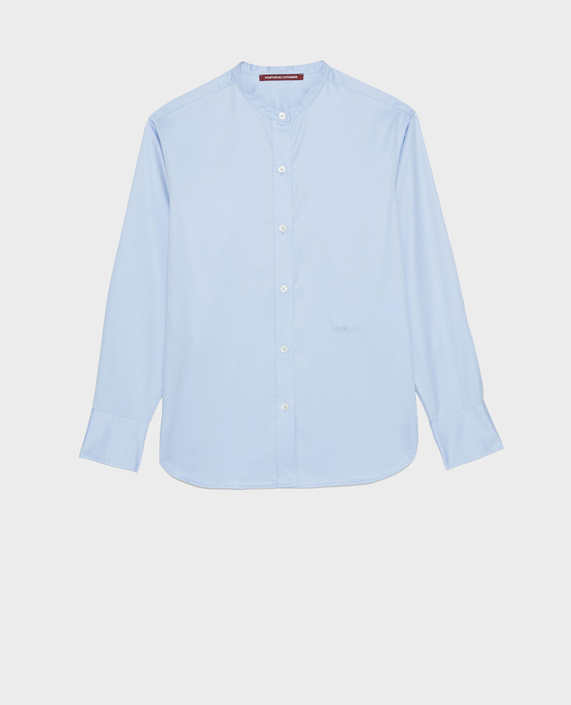 Round neck cotton shirt Classic blue Mannion