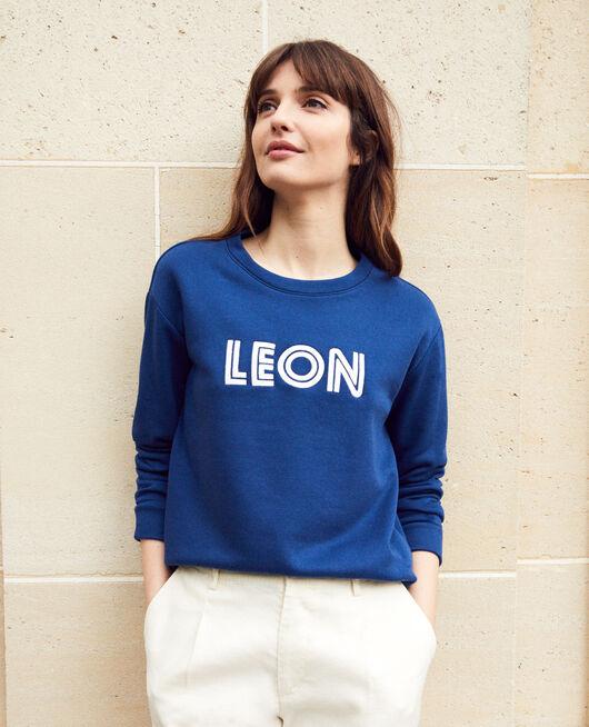Embroidered Léon sweatshirt DK INDIGO/OW