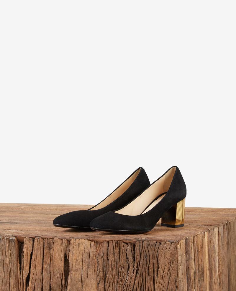 Suede high heels with metallic heels Noir/gold Dedisco