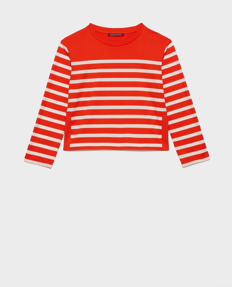 Long-sleeve striped t-shirt Stp spicyorange white Martiel