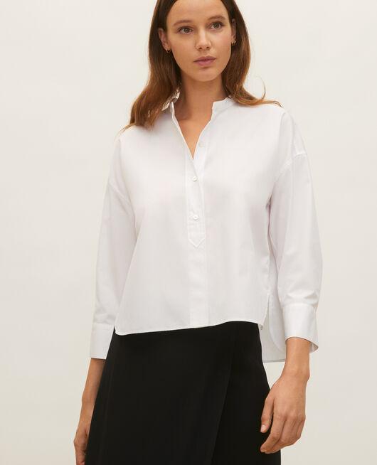 Collarless shirt in cotton poplin OPTICAL WHITE