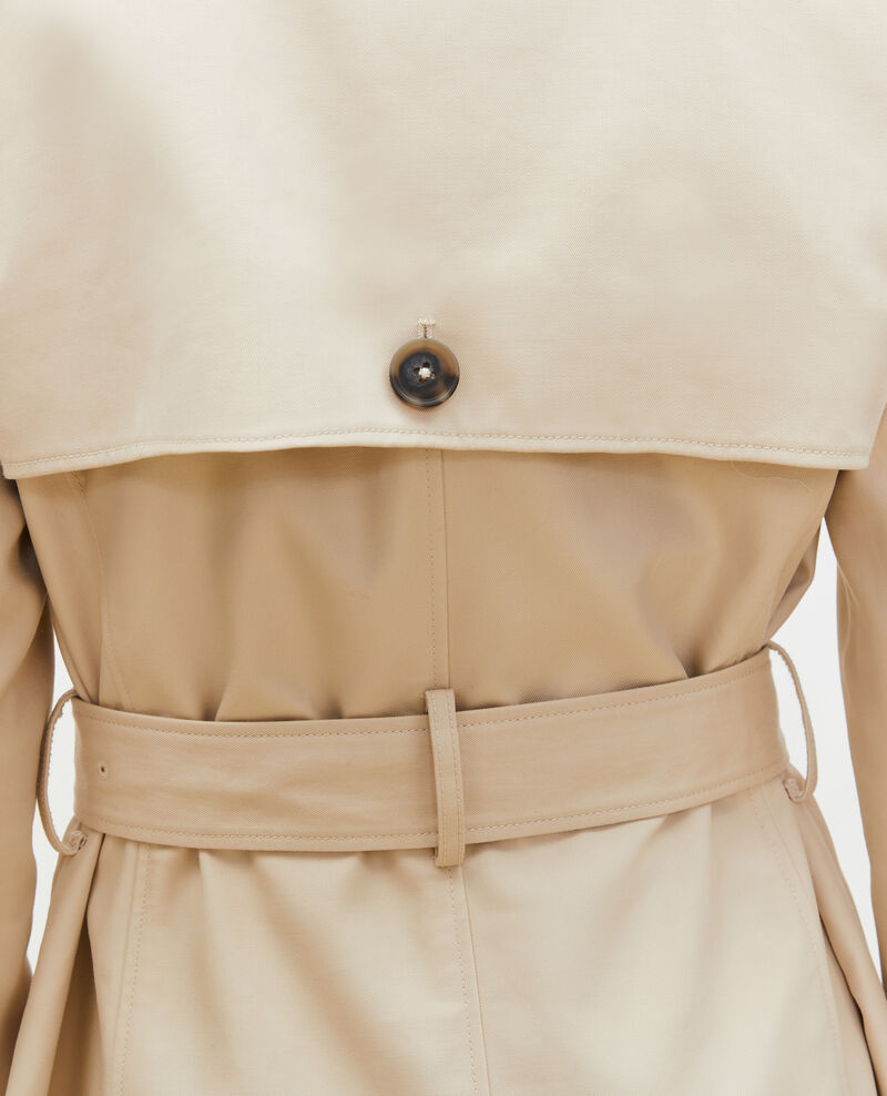 CATHERINE -Mid-length cotton belted trench Smoke gray Mambert