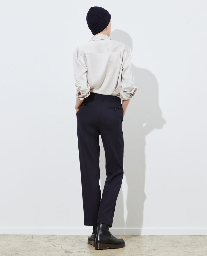 Straight wool boyfriend trousers MARCELLE Night sky Misabelle