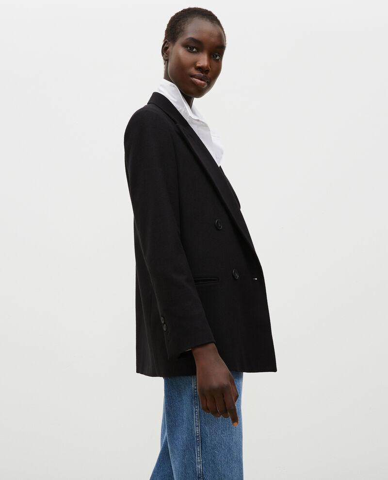 Double-breasted wool blazer Black beauty Muciane