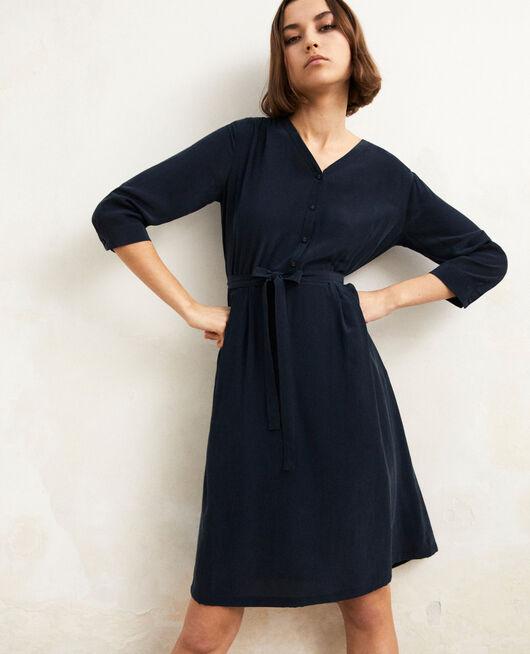 Midi silk-blend dress Bleu marine