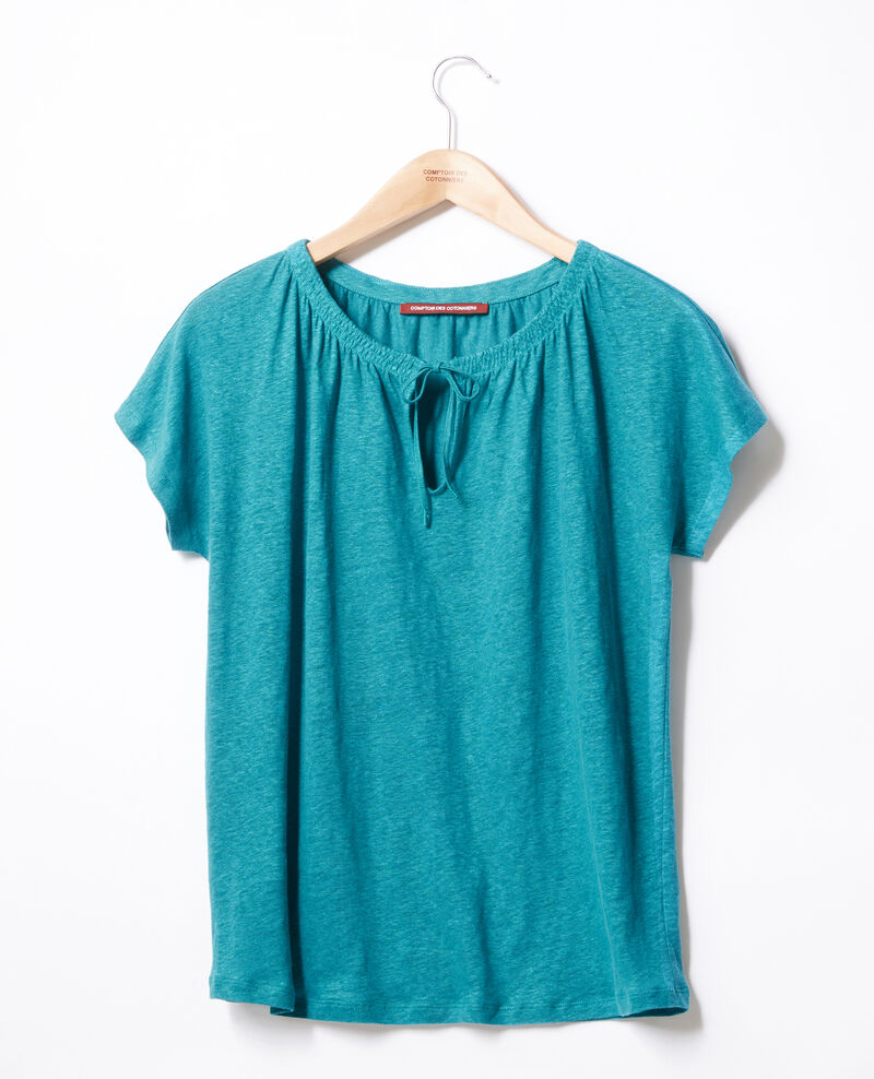 Linen T-shirt Pacific green Flabi